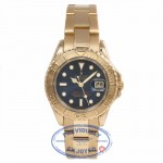Rolex Yacht-Master Ladies 18k Yellow Gold 29MM Blue Dial Oyster Bracelet 69628 Y3WX5J - Beverly Hills Watch Store