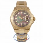 Rolex Yachtmaster 18K Yellow Gold Oyster Bracelet Black Mother of Pearl Dial Watch 16628B Y8K8X1 - Beverly Hills Watch Company Watch Store