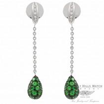 Teardrop 18k White Gold Tsavorites Diamond Earrings BOW5204DZ.TVR 1324 - Beverly Hills Watch