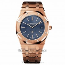 Audemars Piguet Royal Oak 39MM Ultra Thin Rose Gold Blue Dial 15202OR.OO.1240OR.01 VYN0XZ - Beverly Hills Watch Company