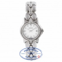 Bertolucci Ladies Stainless Steel Mother of Peal Diamond Dial Diamond Bezel Bracelet  083.55.419.6.671 15552 - Beverly Hills Watch Company Watch Store