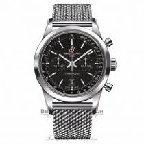 Breitling Transocean Chronograph 38 Stainless Steel Black Dial A4131012/BC06 PUJLCJ - Beverly Hills Watch Company Watch Store