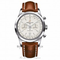 Breitling Transocean Chronograph 38mm Stainless Steel Silver Dial A4131012/G757 TR8AQD - Beverly Hills Watch Company