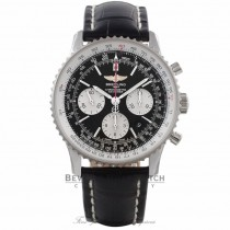 Breitling Navitimer 01 Chronograph 43MM Stainless Steel Black Dial Black Leather Strap AB012012/BB01 KA4734 - Beverly Hills Watch Company Watch Store
