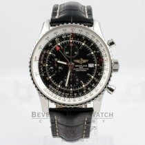 Breitling Navitimer Chronograph GMT Stainless Steel Black Dial 46mm Watch A2432212-B726 Beverly Hills Watch Company Watches