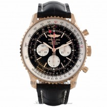 Breitling Navitimer GMT 48MM Automatic 18k Rose Gold Black Dial Silver Subdials RB044121/BD30 UARYPE - Beverly Hills Watch Company Watch Store