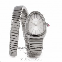 Bvlgari Serpenti Tubogas 35MM Stainless Steel Silver Dial Diamond SP35C6SDS.1T/L VCA2FW - Beverly Hills Watch Store