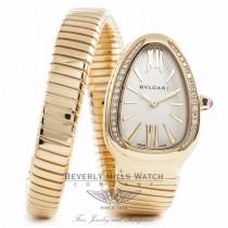 Bvlgari Serpenti 18k Yellow Gold Diamond Bezel Silver Dial 1 Twirl Wrap Around SP35CGDG.1T QPJPLG - Beverly Hills Watch Company Watch Store
