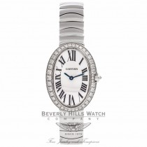 Cartier Baignoire 32MM Small Ladies 18k White Gold Diamond Bezel WB520006 S7WSX3 - Beverly Hills Watch Company Watch Store