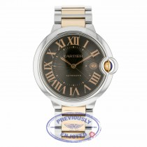 Cartier Ballon Bleu 42mm Rose Gold and Stainless Steel Chocolate Dial W6920032 VTPCN0 - Beverly Hills Watch Company