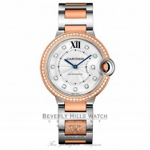 Cartier Ballon Bleu Silver Diamond Dial Steel and Rose Gold WE902077 25CNPX - Beverly Hills Watch