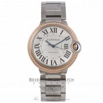 Cartier Ballon Bleu Medium Stainless Steel 18k Rose Gold Diamond Crown Silver Dial Bracelet WE902081 NXYT64 - Beverly Hills Watch Company Watch Store