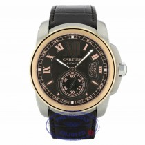 Cartier Calibre 42MM 18k Rose Gold Stainless Steel Chocolate Dial W7100051 699F6X - Beverly Hills Watch Company