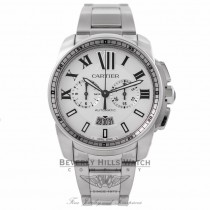 Cartier Calibre De Cartier Chronograph 42MM Stainless Steel Silver Dial W7100045 P21YZA - Beverly Hills Watch Company Watch Store