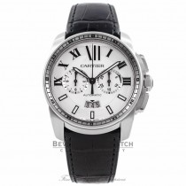 Cartier Calibre De Cartier Chronograph 42MM Stainless Steel Silver Dial Black Alligator Strap W7100046 RGSXNJ - Beverly Hills Watch Company Watch Store