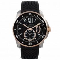 Cartier Calibre de Cartier Diver Stainless Steel 18k Rose Gold Black Dial Rubber Strap W7100056 83CMLT - Beverly Hills Watch Company Watch Store