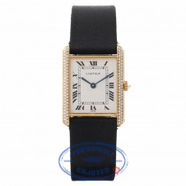 Cartier Gents Tank Louis Diamonds 18K Yellow Gold Case Satin strap 810523743 15714 - Beverly Hills Watch Store