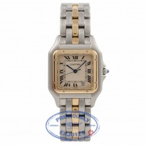 Cartier Panthere Medium Yellow Gold Stainless Steel White Dial WCAG0132 5TV54S - Beverly Hills Watch Company Watch Store