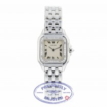 Cartier Panthere Ladies White Gold Diamond Bezel White Dial WF3091F3 2MPT13 - Beverly Hills Watch Company