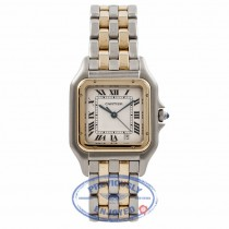 Cartier Panthere Medium Yellow Gold Stainless Steel White Dial WCAGO132 4HXXAS - Beverly Hills Watch Company Watch Store