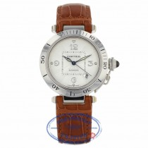 Cartier Pasha 18K White Gold Case 38mm Silver Dial Brown Leather Strap Watch Beverly Hills Watch Store