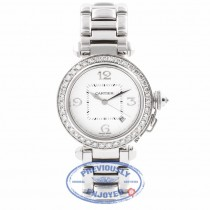 Cartier Pasha 32MM 18k White Gold Silver Dial Diamond Bezel Diamond Crown WJ1116M9 UYXSYX - Beverly Hills Watch Company Watch Store