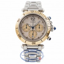 Cartier Pasha 38MM Chronograph 18K Yellow Gold Bezel Stainless Steel Bracelet 1032PASHA YM515U - Beverly Hills Watch Store