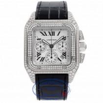 Cartier Santos 100 XL Chronograph Stainless Steel Custom Diamond Set W20090X8 DKHQZX