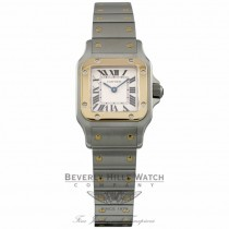 Cartier Santos Galbee Small Quartz 18k Yellow Gold Stainless Steel Silver Dial W20012C4 V783ZE - Beverly Hills Watch Company