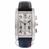 Cartier Tank Americain Chronograph XL Gents 18k White Gold Silver Dial Black Leather Strap W2609456 PW18LH - Beverly Hills Watch Company Watch Store