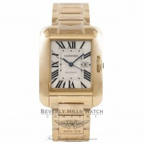 Cartier Tank Anglaise Large 18K Yellow Gold Bracelet Silver Roman Dial Watch W53100018 Beverly Hills Watch Company Watches