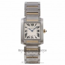 Cartier Tank Francais Medium 18k Yellow Gold Stainless Steel Silver Dial Bracelet W2TA0003 QVN5TW - Beverly Hills Watch Company Watch Store