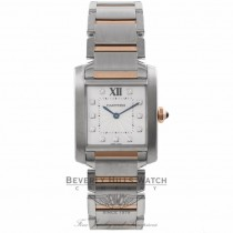Cartier Tank Francais Medium 18k Rose Gold Stainless Steel Silver Diamond Dial WE110005 88UC30 - Beverly Hills Watch Company Watch Store