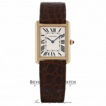 Cartier Tank Solo Rose Gold Silver Dial Brown Leather Strap W5200025 Q1DCXT - Beverly Hills Watch Company