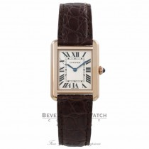 Cartier Tank Solo Small 18k Rose Gold Silver Roman Dial W5200024 YQMRVF - Beverly Hills Watch Company Watch Store