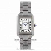 Cartier Tank Solo Small 31MM Stainless Steel Quartz Silver Opaline Roman Numerals W5200013 EFX3Z6 - Beverly Hills Watch Company
