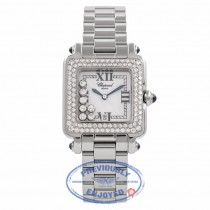 Chopard Happy Sport Square Medium Stainless Steel 18K White Gold Diamond Bezel 27/8361-23 VA2Y3R - Beverly Hills Watch Company Watch Store