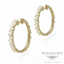 Designs by Naira 18k Yellow Gold Baguette Medium Hoops Earrings 39641 V1T877 - Beverly Hills Jewelry Store