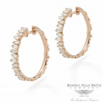 Designs by Naira 18k Rose Gold Baguette Medium Hoops Earrings 39642 WA93AL - Beverly Hills Jewelry Store
