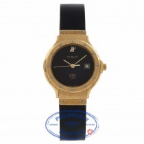 Hublot Classic Ladies 26MM Yellow Gold Black Dial Rubber Strap 1390.100.3 2983 - Beverly Hills Watch Store