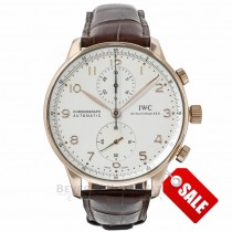 IWC Portuguese Silver Dial 40MM Chronograph Rose Gold Leather Automatic IW371480 12BSKK - Beverly Hills Watch Store