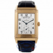 Jeager LeCoultre Grand Reverso Duo 18k Rose Gold Silver Dial Alligator Strap Q3742421 KLF2HW