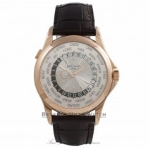 Patek Philippe Complication World Time 39MM 18k Rose Gold Silver Sunburst Dial 5130R-018 5QP3PA  - Beverly Hills Watch Company Watch Store