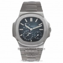 Patek Philippe Nautilus 5712/1A Power Reserve Moon Phase Stainless Steel Blue Dial Watch Beverly Hills Watch Company Watches