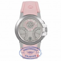 Harry Winston The Ocean Bi Retrograde 18K White Gold Silver Diamond Dial Pink Rubber Strap Ladies Watch 400-UABI36WC.WDP Beverly Hills Luxury Watches