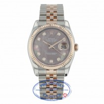 Rolex Datejust 36mm 18k Rose Gold and Stainless Black Mother of Peal Diamond Dial 116231  - Beverly Hills Watch