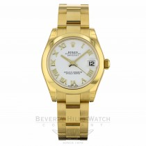 Rolex Datejust 31mm Yellow Gold Domed Bezel Oyster Bracelet White Dial 178248 D2F384 - Beverly Hills Watch Company