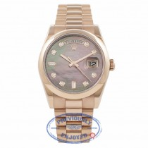 Rolex 36MM Day-Date Everose Black Mother of Pearl Diamond Dial 118205 B6BDX5 - Beverly Hills Watch Company Watch Store