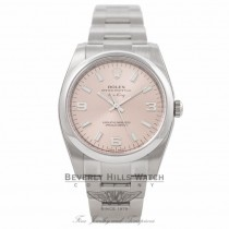 Rolex Air King Stainless Steel Domed Bezel Pink Dial 114200 MKL6W2 - Beverly Hills Watch Company Watch Store
