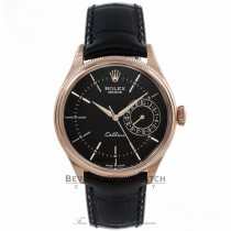 Rolex Cellini Date 18k Rose Gold Domed & Fluted Double Bezel Black Guilloche Dial 50515 EPQE35 - Beverly Hills Watch Company Watch Store